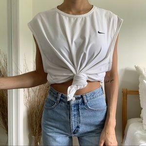 Nike Jersey Mesh Muscle Shirt White Top